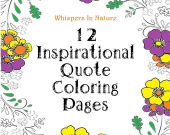 12 inspirational quote coloring pages for adults digital copy print now