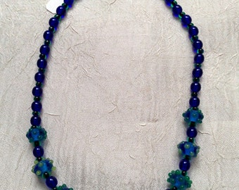 Blue and green bumpy bead necklace