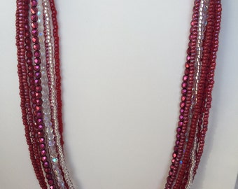 Red and Silver Multi Strand Necklace