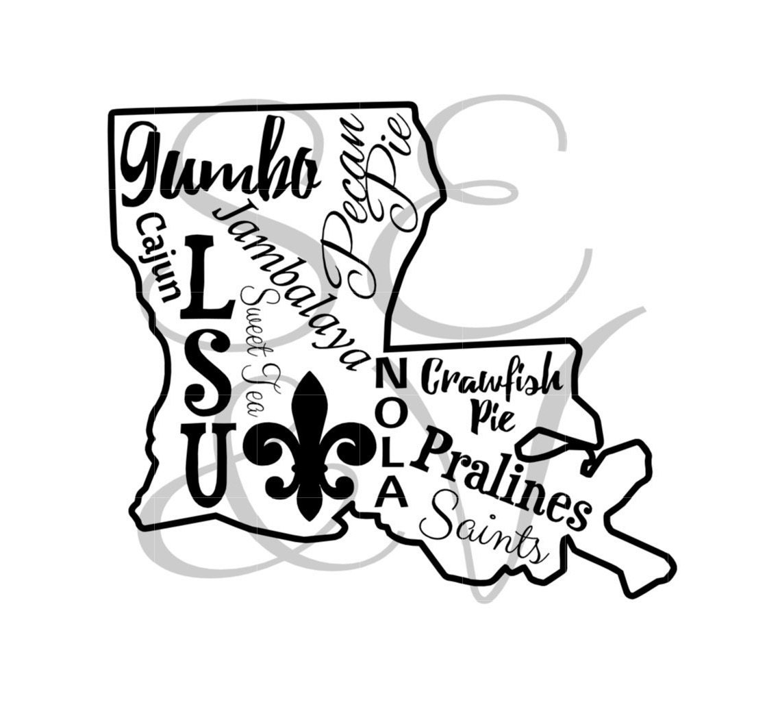LA State Symbols Digital Cut File// svg// png//jpg//silhouette