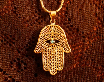 Hamsa Hand of Fatima protection charm pendant necklace antique brass with stone BP03