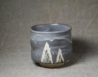 Chawan matcha bowl for Japanese tea ceremony made in Nezumi Shino technique - vintage handmade *0079