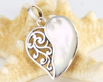 Heart - Sterling Silver, Natural Mother of Pearl Pendant, Bohemian Style