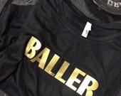 "Workout Tank Top: Gold ""BALLER"" on Womans Flowy Scoopneck Workout Tank Top"