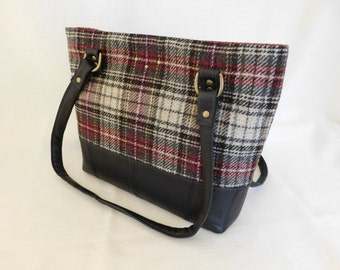 Handmade repurposed black leather with red, grey and oatmeal wool plaid tote bag