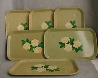 Six Vintage Avocado Tin Magnolia Serving Trays