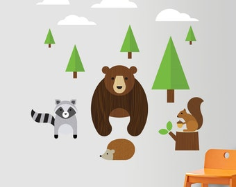 Forest Animals Decal, Forest Wall Decal, Bear Wall Decal, Raccoon Wall Decal, Squirrel Wall Decal, Forest Nursery Decal, Woodland Decal