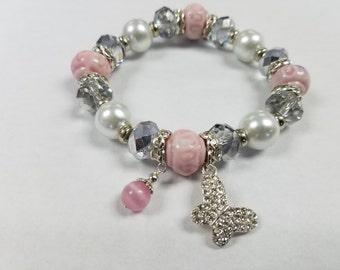 Butterfly Charm Beaded Bracelet