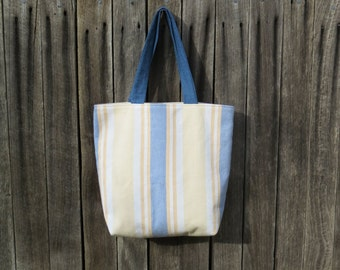 Upcycled Canvas Tote Bag - Linen Handmade Retro Reversible Beach, TotesBySandra