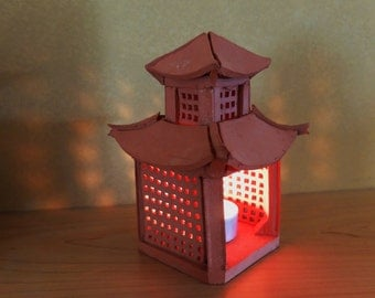 Handmade Terracotta Pagoda Style Tea Light Holder