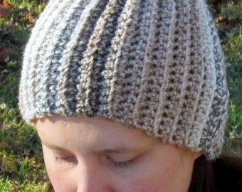 Warm Winter Crochet Hat, Caramel