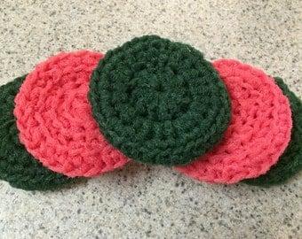 5 Dish Scrubbers, Crocheted Nylon