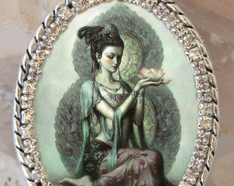 Kuan Yin Goddess of Mercy and Compassion Handmade Necklace Catholic Christian Religious Jewelry Medal Pendant