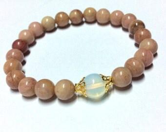 Genuine Moonstone Rhodochrosite Yoga Mala Bracelet - Natural Spirited Stones Bracelet - Healing Stones Bracelet - Stretch Bracelet -