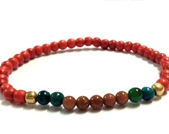 Genuine Turquoise, Chrysocolla, Gold Sand Elephant Yoga Mala Bracelet - Natural Spirited Bracelet - Healing Stones - Stretch Bracelet