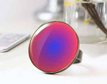 Large statement Ring, Psychedelic Ring, Pink and blue photo ring, Bohemian Cabochon ring,  ring, Gradient 5036-3