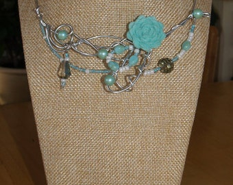 Mint flower necklace, silver wire