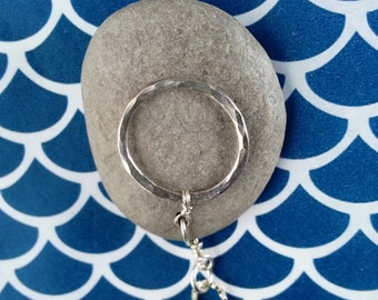 Lake Michigan Stone Necklace with Silver Ring, OOAK
