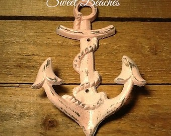 Cast Iron Anchor  beach towel Coat Hook Weather Distressed Look  Beach Seaside Nautical  Decor