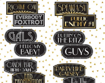 Gatsby Signs | Gatsby Props | Roaring 20's Props | Roaring 20's Signs | Photo Booth Props | Prop Signs