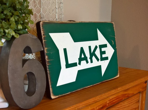Lake Signs Wall Decor : Lake arrow sign wall decor happy place new cabin