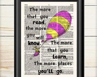 Dr Seuss Wall Art, Dr Seuss Oh The Places You'll Go, Cat in the Hat, Dictionary Print, Dr Seuss Print, Nursery Decor, Nursery Print, 106