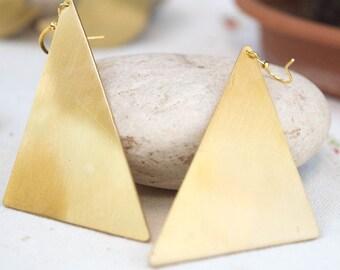 Triangle earrings, Big statement earrings, Minimalist earrings, Brass earrings, Metalwork jewelry,