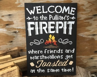 Welcome To Our Fire Pit, Outdoor Home Decor, Wedding Gift, Outdoor Signs, Campfire Sign, Rustic Wood Signs