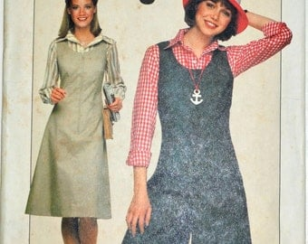 1970s Simplicity Vintage Sewing Pattern 8053, Size 6 & 8; Misses' Jumper and Culotte Jumper