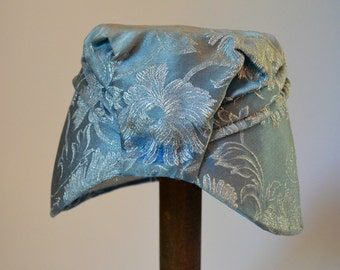 Vintage 1950s/1960s Blue Silk Embroidered Turban/Bonnet Hat; Chapeau by Clabough Original