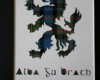 Scottish Rampant Lion - Alba Gu Brath Tartan Art Picture Gift