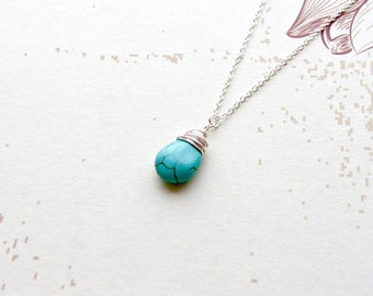 Sterling Silver Turquoise Necklace Gemstone Necklace Hand Wrapped Pendant Gifts for Her, Boho Necklace