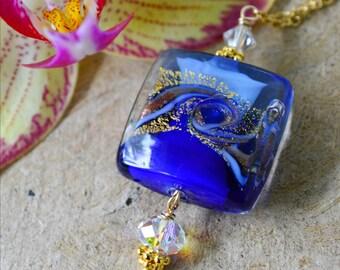 Murano Glass Necklace   Ocean Luxe Jewelry   Cobalt Hand Blown Glass   Glass Pendant