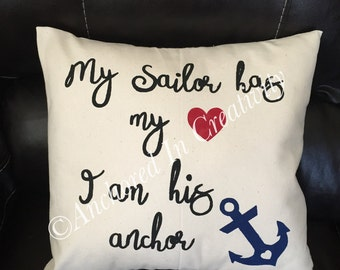 Sailor Pillow Cover, Anchor Pillow Cover, 16x16 Pillow Cover, Nautical Pillow Cover, Navy Mom, Gift for Home