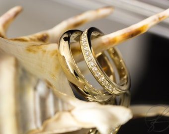 Engagement rings/wedding rings with diamonds. 585 gold. II