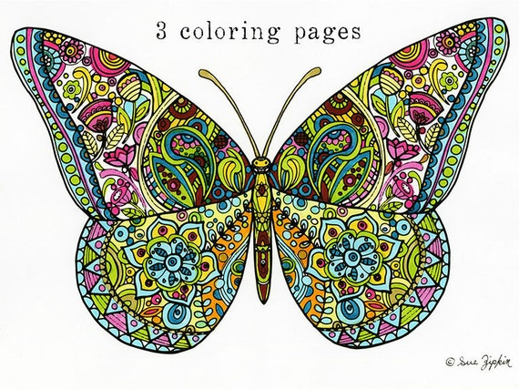Sue Zipkin Printable Set Of 3 Butterfly Mandala Flower Allover Pattern Coloring Pages PDF
