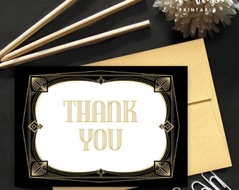 Great Gatsby Thank You Card | Great Gatsby Thank You Note | Fits A1 envelope | 3.5 x 5 | Printable Instant Download