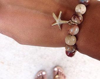 Earth Tone & Gold Bracelet