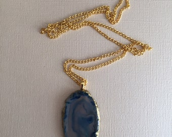 Blue Agate Stone Gold Necklace