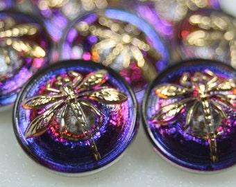 Czech Glass Button 18mm Vintage Style