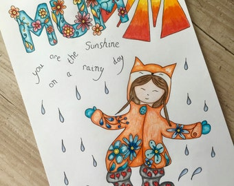 Mum Sunshine on a Rainy Day. Colouring Pages. Digital Coloring Pages. Mum Coloring Page. Adult Colouring Page. Nursery Art. Nursery Decor