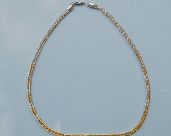 22K and Fine Silver Single Loop in Loop Hand Woven Chain with Cast End Caps