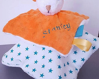 Teddy bear  / blanket turquoise and tangerine orange / Teddy bear  customizable with embroidery name / baby shower gift