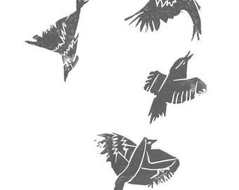 BLUE BIRD FLIGHT. Print. Linocut