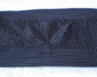 Vintage Black Petite Point Embroidered Evening Clutch Purse-1930's