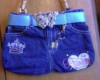 Little Girls purse - Princess Purse - Jean Handbag - Jean Pocketbook - Girls Pocketbook