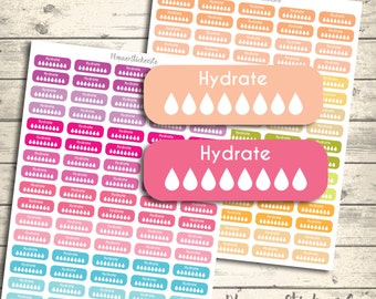 hydrate sticker, habit tracker ,160 sticker set, erin condren hydrate stickers, pastel colorful printable planner stickers