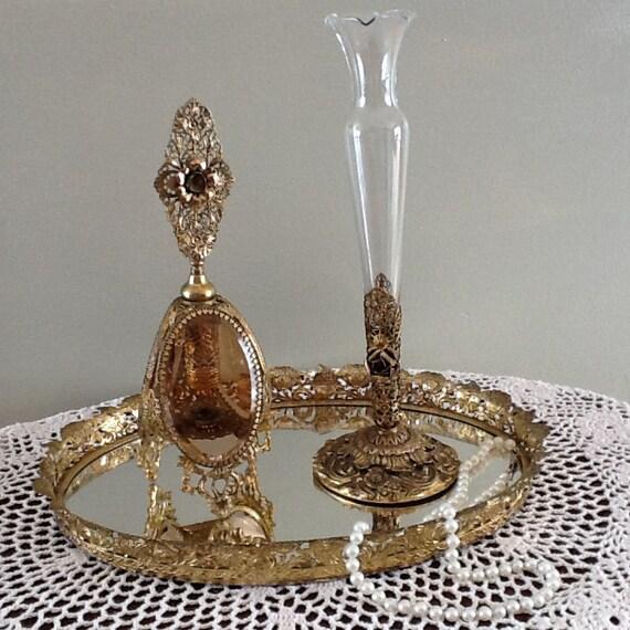 Guildcrest 24Kt Feligree Perfume Flask & Rosebud Vase
