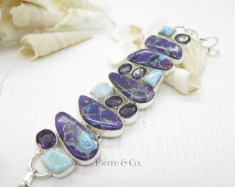 Pyrite Purple Turquoise Larimar and Amethyst Sterling Silver Bracelet