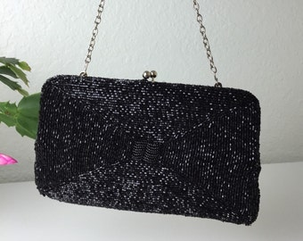 50's Threads for the Square Black Beaded Evening Bag by Walborg